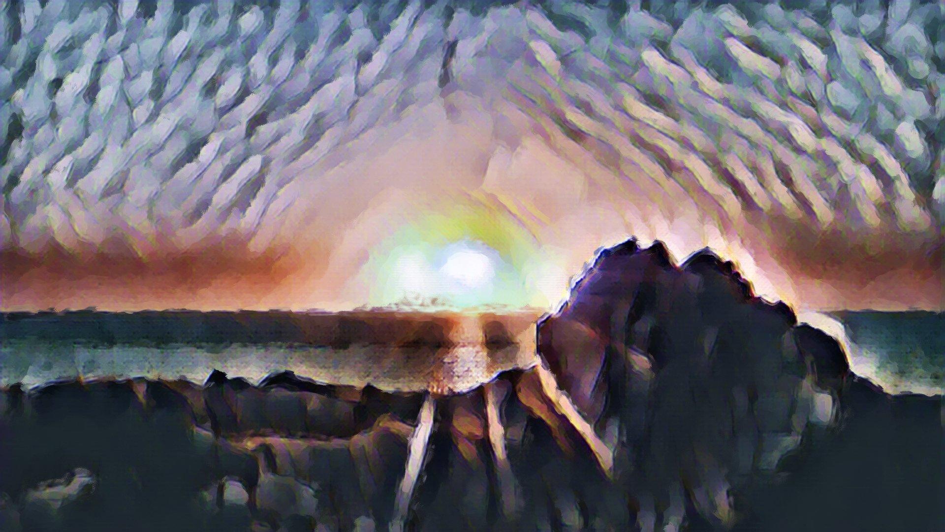 Sunset at Oshlid Bolungarvik Westfjords AI