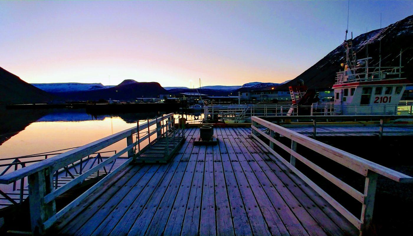 Winter Sunset At Isafjordur Harbor