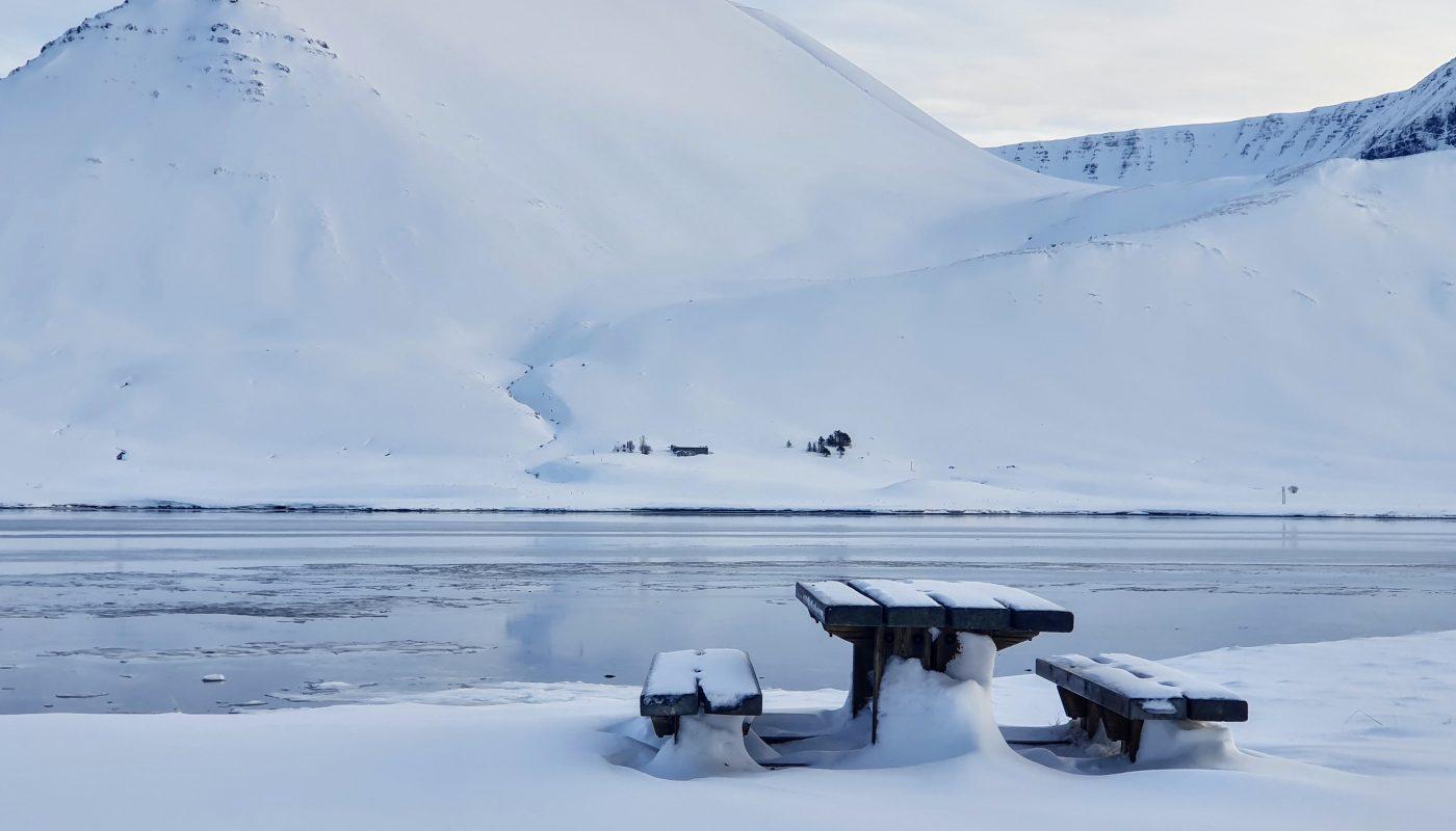 Snowy Rest Stop In Onundarfjordur