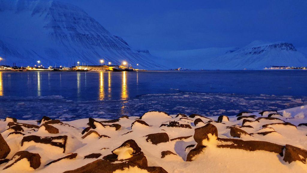Winter Dawn In Isafjordur Harbour