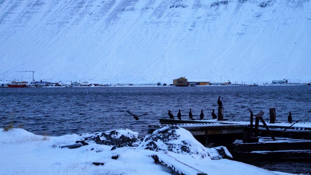 Solstice view in Isafjordur Town