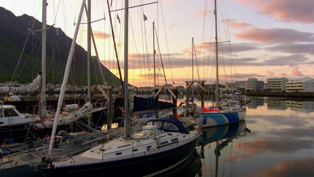 Evening View Isafjordur Town Harbour