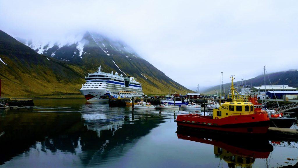 Cruise Ship At Isafjordur Harbour
