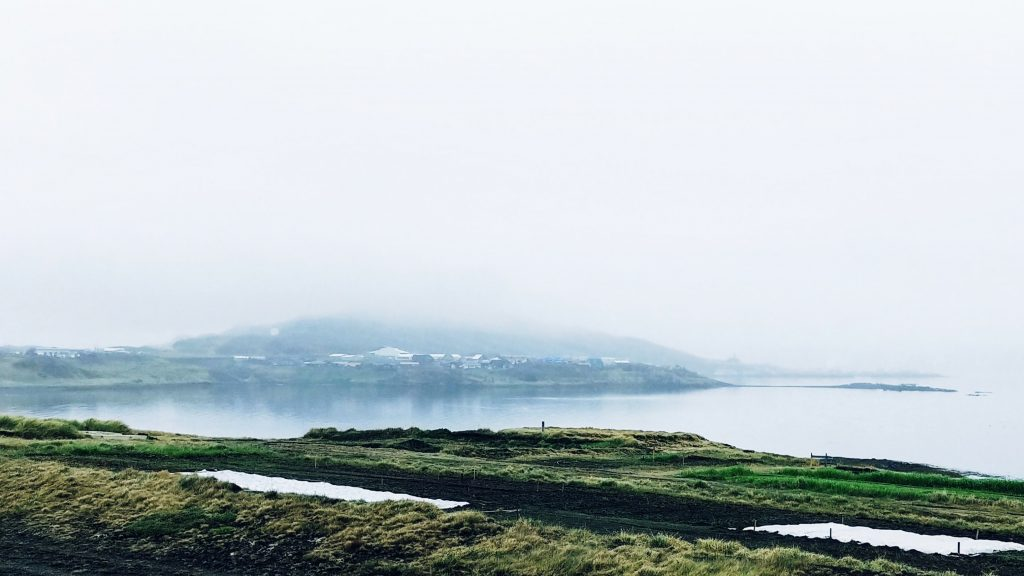 The Village Holmavik In The Fog