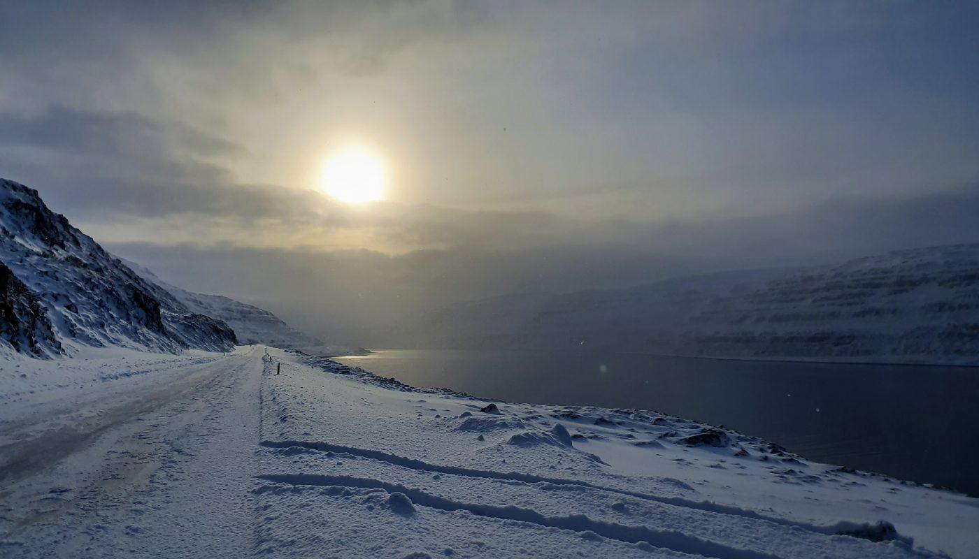 Winter View in Skotufjordur Westfjords