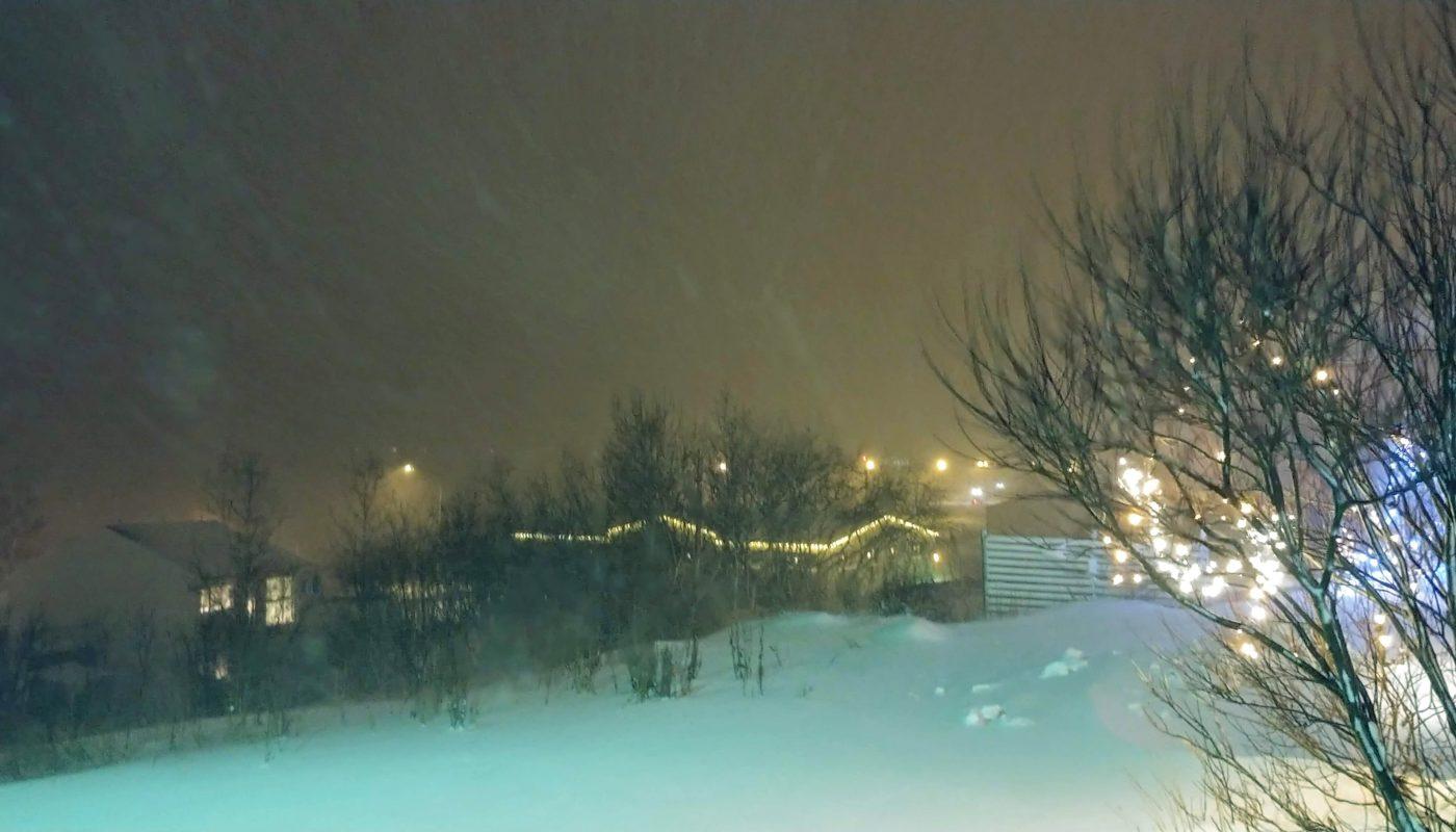 Snowstorm and Christmas Lights