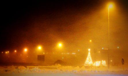 Snowstorm in Isafjordur Town