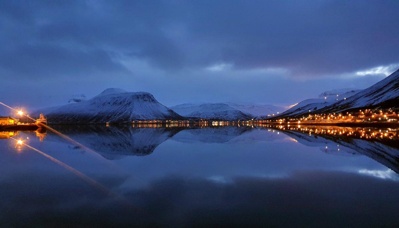 Isafjordur at dusk